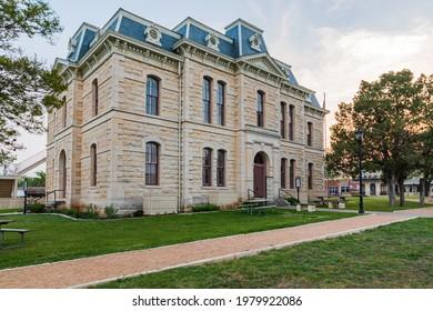 Blanco, Texas, USA. April 14, 2021. The old stone courthouse in Blanco, Texas.