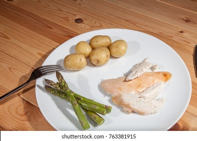 Bland healthly food meal. Boring organic chicken slimmers dinner with asparagus and boiled potatoes. Close up of meal on a white plate.
