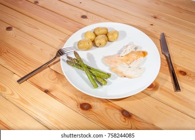 Bland healthy organic chicken dinner. Boring low calorie diet food. Quick easy and nutritional lunch served on a white plate.