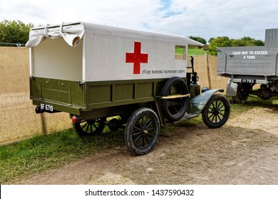 Blandford, Dorset, UK - September 5, 2015: A re-created Ford Model T Ambulance that was used by the British Army 1st Aid Nursing Yeomanry Corps in WW1 pictured at the Great Dorset Steam Fair 2015