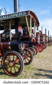 Blandford Forum.Dorset.United Kingdom.August 24th 2019.A row of restored antique traction engines is on display at the Great Dorset Steam Fair.