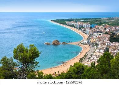 Blanes beach and Sa Palomera rock. Costa Brava, Catalonia, Spain