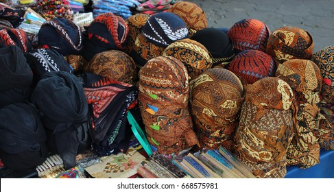 A blangkon or belangkon (Indonesian) is a traditional Javanese headdress worn by men and made of batik fabric. in market traditional