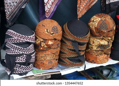 Blangkon is a headgear made from batik and used by men as part of traditional Javanese clothing, one of the souvenir from Malioboro Yogyakarta