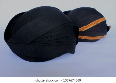 blangkon hitam or black blangkon a traditional hat Javanese men. isolated on white background