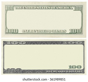 Blank 100 dollar banknote isolated