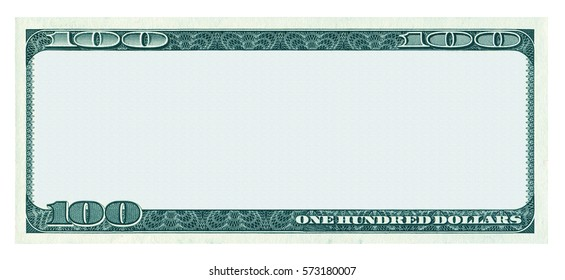 Blank 100 dollar banknote pattern isolated on white background