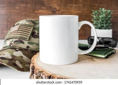 Blank 11oz white coffee mug with masculine background, military, hunting, father's day mug mockup