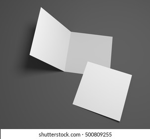 Blank 3d rendering open square greeting cards