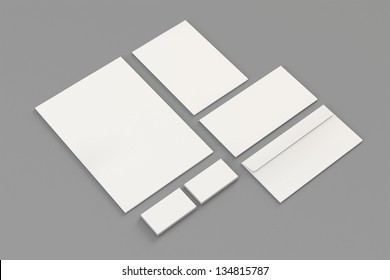 Blank A4 paper, Business cards, Letterhead, Envelopes / Stationary, Corporate identity template on grey background with soft shadows