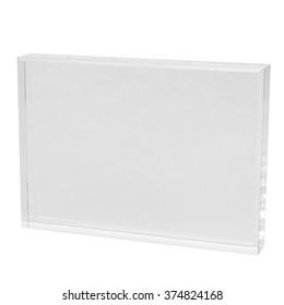 Blank acrylic block ready for engraving, rectangular shape, isolated on white background