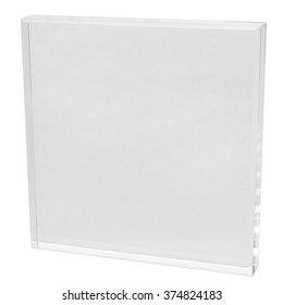 Blank acrylic block ready for engraving, square shape, isolated on white background