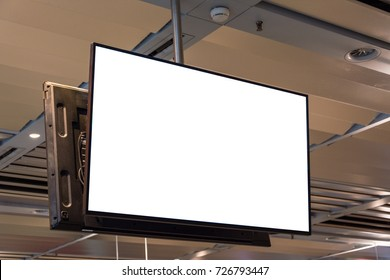 Blank ad space screen hanging from the ceiling close up