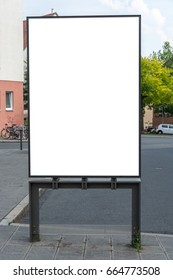 A blank ad space sign isolated in the street