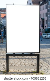 Blank ad space sign isolated in the street on a market from the front