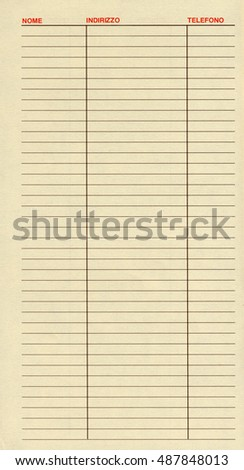 blank address book page headers italian stock photo edit now