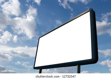 Blank advertisement board with cloudy blue sky