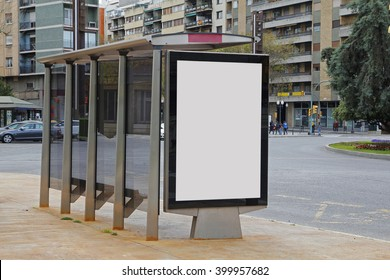 Blank advertisement in a bus shelter, for free promo