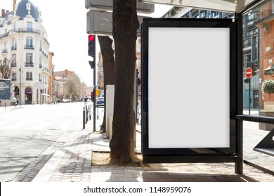 Blank advertisement mock up in a bus stop, for free advertisement