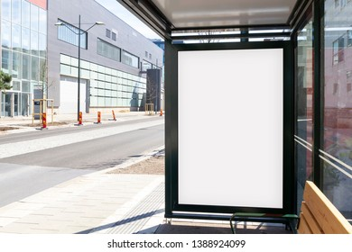 Blank advertisement mock up in a bus stop