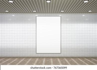 Blank advertisement poster in subway underground hall. 3d illustration