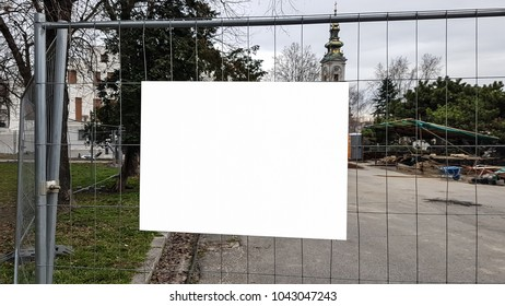 Blank Advertisement Sign On Metal Gate City Urban Public White Isolated Clipping Path Template Ad