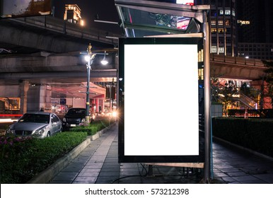 Blank advertisement in the street for advertising,Billboard, banner.