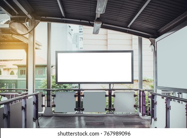 Blank advertisement at walkway in electric train for advertising,Billboard, banner.