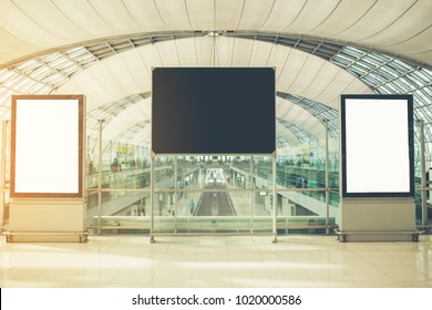 Blank Advertisements in airport.