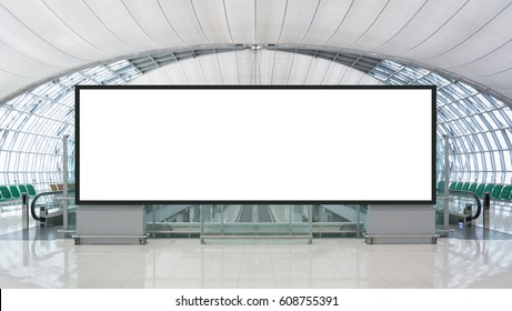 Blank advertising billboard in the Airport with path