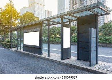 Blank advertising billboard at bus stop in city of China.