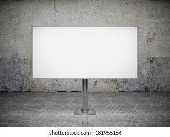 Blank advertising billboard at the dirty wall