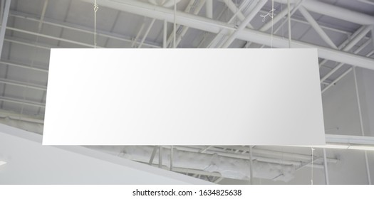 Blank advertising billboard hanging in the supermarket