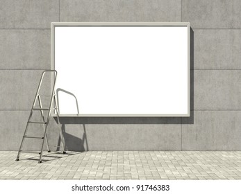 Blank advertising billboard on concrete wall with ladder