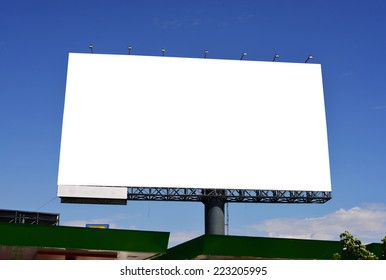blank advertising billboard signpost with blue clear sky