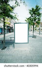 Blank advertising panel in city