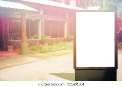 Blank advertising panel on the street