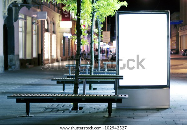 Blank advertising panel on a street
