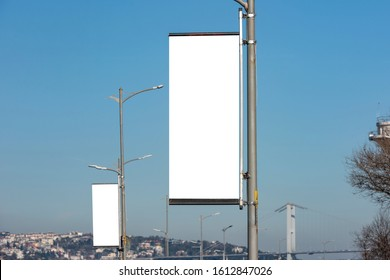 The blank advertising pole banner on the street, Istanbul - TURKEY