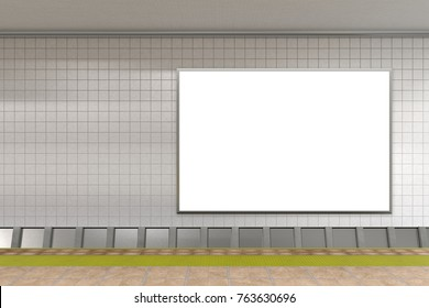 Blank advertising poster on subway station. 3d illustration