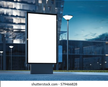 Blank advertising stand at night against office building. 3d rendering