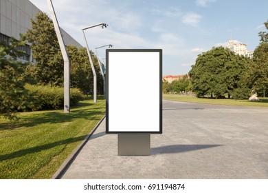 Blank advertising vertical street billboard poster. 3d illustration.