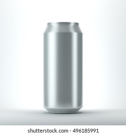 Blank aluminum can for beer and other drink. Isolated Mockup. 3d rendering