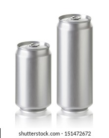 Blank aluminum cans, Realistic photo image 330 and 500 ml. Silver can with copy space, ideal for beer, lager, alcohol, soft drink, soda, lemonade, cola, energy drink, juice, water etc.