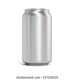 Blank aluminum soda can on white background