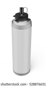 Blank aluminum spray can, building material, aerosol spray can, metal bottle isolated on white background. 3D rendering.