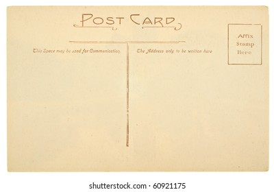 Blank Antique Back of Postcard Isolated on White Background