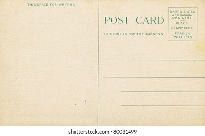 Blank Antique Postcard from early 1900's, requiring a one cent stamp.