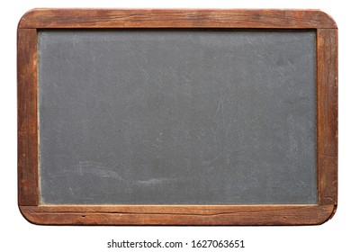 blank antique small blackboard with wood frame isolated on white background