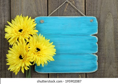 Blank antique teal blue sign with three bright sunflowers hanging on rustic wooden background